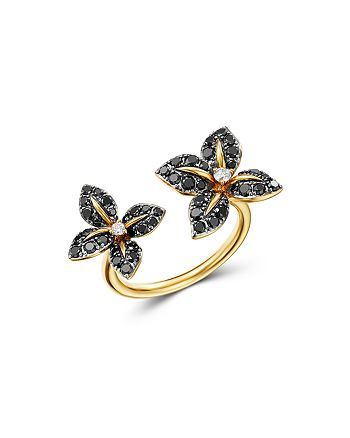 Bloomingdale's - White and Black Diamond Open Flower Ring in 14K Yellow Gold - 100% Exclusive