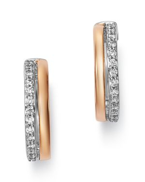 Bloomingdale's Diamond Huggie Earrings in 14K Rose Gold & 14K White Gold, 0.25 ct. t.w. - 100% Exclu
