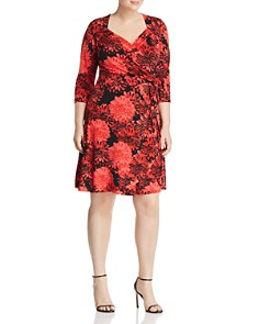 Leota Plus - Sweetheart Floral Print Faux-Wrap Dress