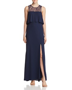 BCBGMAXAZRIA - Tiered Lace-Back Gown