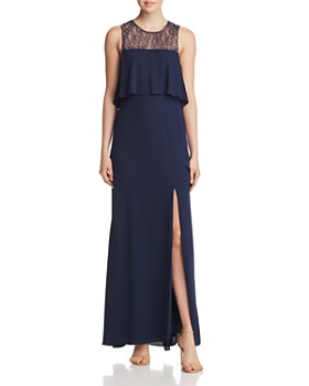 Bcbgmaxazria Tiered Lace Back Gown
