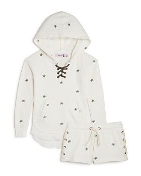 Play Six - Girls' Star-Print Terry Lace-Up Hoodie & Shorts - Little Kid