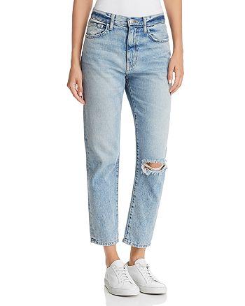 Current/Elliott - The Vintage Cropped Slim Boyfriend Jeans in 2 Year Destroy Rigid Indigo