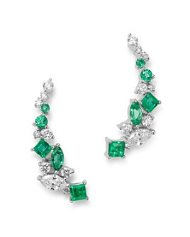 Bloomingdale's - Diamond & Emerald Climber Earrings in 14K White Gold - 100% Exclusive