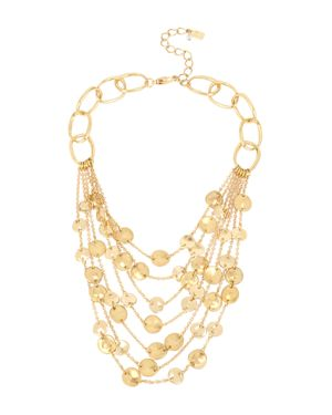 "ROBERT LEE MORRIS SOHO GOLD-TONE DISC MULTI-ROW STATEMENT NECKLACE, 16"" + 3"" EXTENDER"