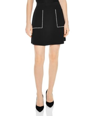 Louis Studded A-Line Mini Skirt, Black