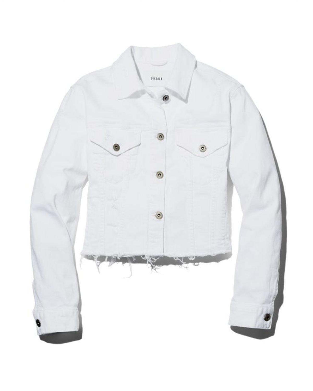Naya Raw Edge Cropped Denim Jacket by Pistola