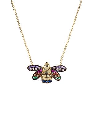 Aqua Multicolor Bee Pendant Necklace in Gold-Tone Sterling Silver, 15 - 100% Exclusive