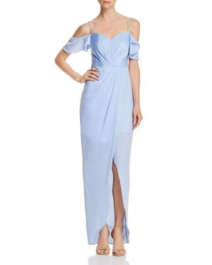 BARIANO Kendall Cold-Shoulder Gown in Periwinkle