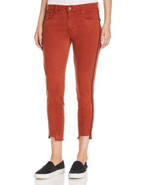 PARKER SMITH Twisted-Seam Skinny Cropped Pants W/ Step-Hem in Orange