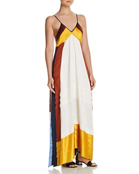 Tory Burch - Sasha Silk Color Block Maxi Dress