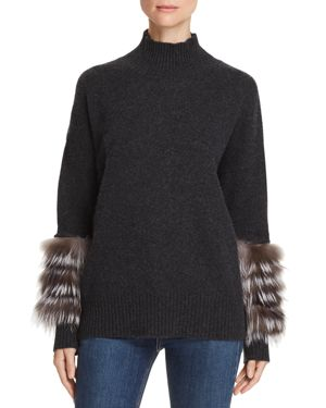 C by Bloomingdale's Fox Fur & Leather-Trim Cashmere Turtleneck Sweater - 100% Exclusive