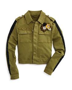 Hudson - Girls' Embroidered & Studded Surplus Jacket, Big Kid - 100% Exclusive