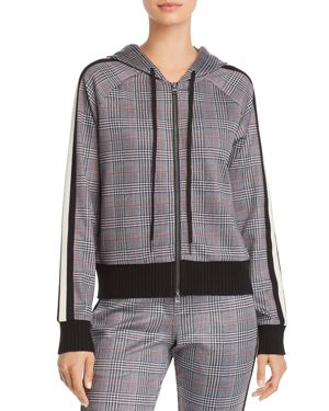 GLEN PLAID CROPPED HOODED TRACK JACKET