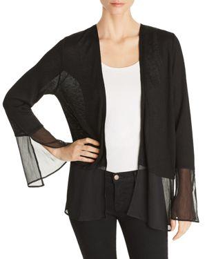 AVEC Lace-Back Open Cardigan in Black