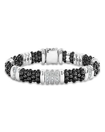 LAGOS - Sterling Silver Black Caviar Diamond & Black Ceramic Station Bracelet