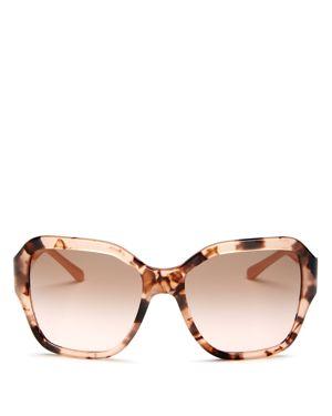 Reva 56Mm Square Sunglasses - Peach Tortoise Solid, Peach Tortoise/Brown Rose