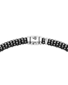 LAGOS - Sterling Silver Black Caviar Collection Six-Bar Station Diamond & Black Ceramic Necklace, 16""