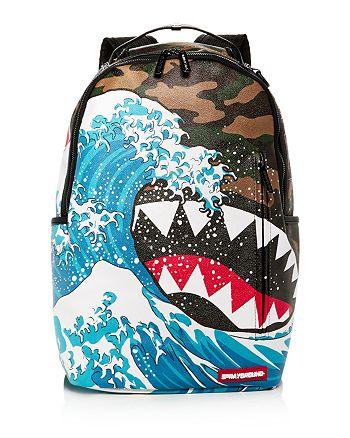 aadeca3896b5 Sprayground Faux-Leather Camo & Wave Print Shark Backpack ...