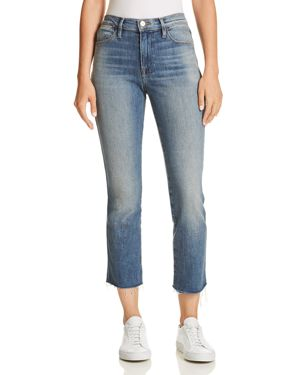 Le High Straight Double Needle Raw-Edge Jeans In Silverado