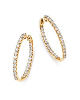 Bloomingdale's - Diamond Inside Out Oval Hoop Earrings in 14K Yellow Gold, 3.0 ct. t.w. - 100% Exclusive