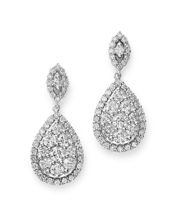 Bloomingdale's - Diamond Teardrop Earrings in 14K White Gold, 3.0 ct. t.w. - 100% Exclusive