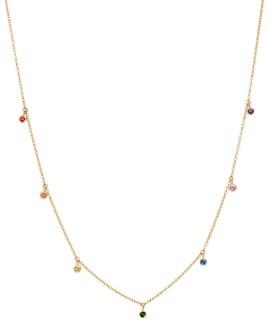 "Zoë Chicco - 14K Yellow Gold Rainbow Sapphire Dangle Adjustable Necklace, 14""-16"""