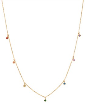 "Zoë Chicco - 14K Yellow Gold Rainbow Sapphire Dangle Adjustable Necklace, 14""-16"""