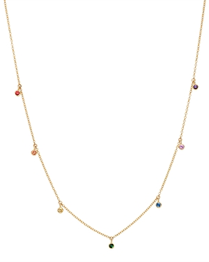 Zoe Chicco 14K Yellow Gold Rainbow Sapphire Dangle Adjustable Necklace, 14-16