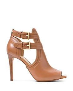 MICHAEL Michael Kors - Women's Blaze Open-Toe Leather High-Heel Booties