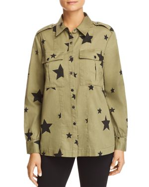 MARLED Star-Print Military Shirt Jacket in Light Green