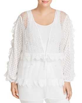 Lost Ink Plus - Sheer Embroidered Mesh Jacket