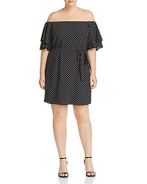 City Chic Plus Dotted Off-the-Shoulder Flutter Dress