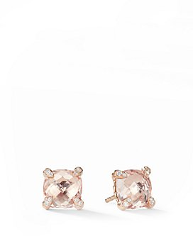 David Yurman - Châtelaine®  Stud Earrings with Morganite & Diamonds in 18K Rose Gold