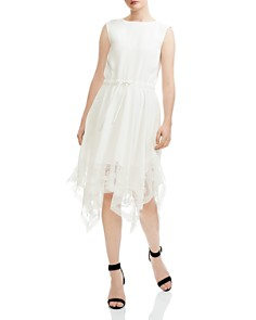 Maje - Rushane Lace-Trimmed Handkerchief-Hem Midi Dress