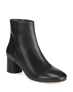 Vince - Women's Tillie Round-Toe Mid-Heel Leather Booties