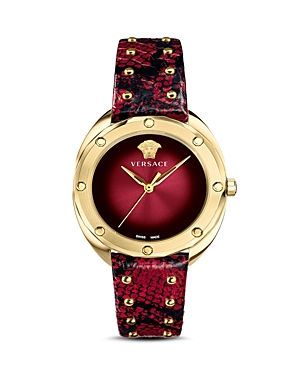 Versace Collection Shadov Dark Red Snakeskin Watch, 38mm