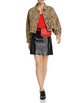 Sunset & Spring - Leopard Print Cropped Denim Jacket - 100% Exclusive