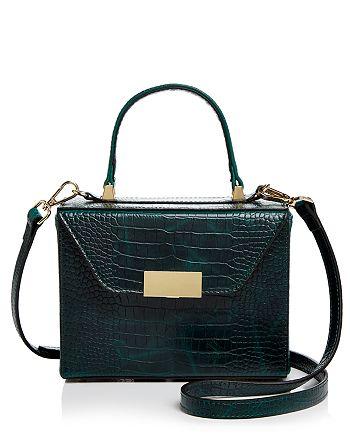 AQUA Medium Croc-Embossed Box Bag Satchel - 100% Exclusive ... 5f5dcd505d