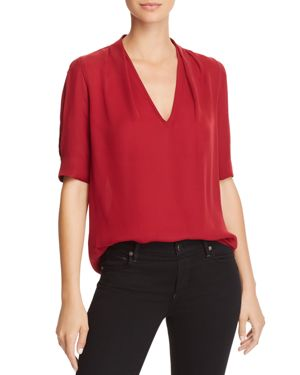 Ance Silk Top, Cambridge Red