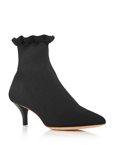Loeffler Randall - Women's Kassidy Pointed Toe Knit Mid Heel Booties