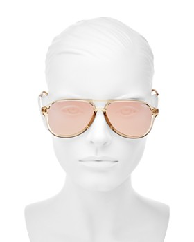 Quay - Women's Under Pressure Mirrored Brow Bar Aviator Sunglasses, 56mm