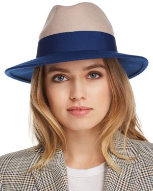 Aqua Color-Block Wool Felt Fedora - 100% Exclusive