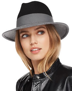 AQUA - Color-Block Wool Felt Fedora - 100% Exclusive