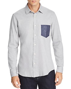 BOSS - Reggie Contrast Faux-Pocket Regular Fit Flannel Shirt