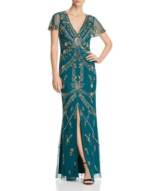 AIDAN MATTOX EMBELLISHED SLIT-SLEEVE GOWN