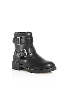STEVE MADDEN - Girls' Faux-Leather Moto Booties - Little Kid, Big Kid