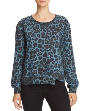 Leopard Print Asymmetric Sweatshirt, Blue Leopard