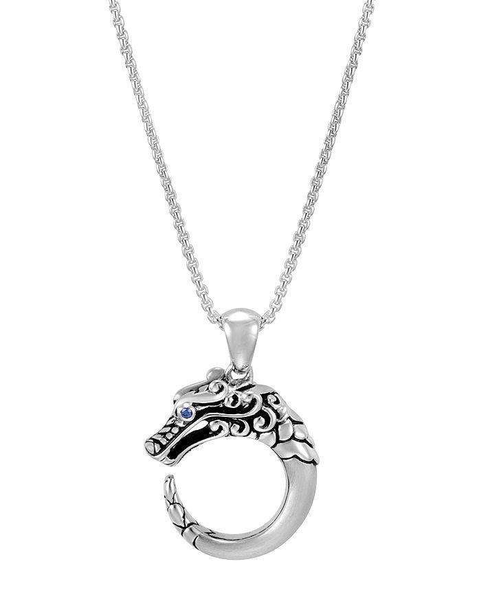 "JOHN HARDY - Sterling Silver Legends Naga Blue Sapphire Eyes Adjustable Pendant Necklace, 16""-18"""