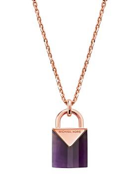 "Michael Kors - Kors Color Semi-Precious 14K Rose Gold-Plated Sterling Silver Padlock Pendant Necklace, 16"""